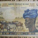 Mali 5000 francos 1971-84 (156x102mm) pk.14d anverso
