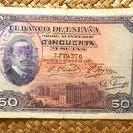 España 50 pesetas 1927 resello República Española 1931-38 anverso