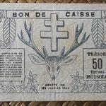 Nueva Caledonia 50 céntimos 1943 Bono -Tesoro de Noumea (114x70mm) pk.54 reverso