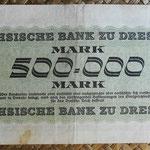 Alemania 500.000 marcos Sachsische Bank Dresden ago-1923 (144x90mm) pk.S961 reverso