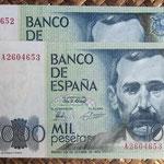 España 1.000 pesetas 1979 (138x75mm) pk.158 pareja serie A anversos