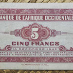 Africa Occidental Francesa 5 francos 1942 (114x65mm) pk.28a reverso