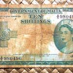 Malta 10 shillings 1954 anverso