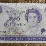 Nueva Zelanda 2 dollars 1985-89 (145x70mm) pk.170b anverso