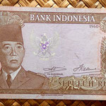 Indonesia 10 rupias 1960 (136x68mm) pk. 83 anverso