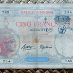 Yibuti 5 francos 1943 (148x92mm) resello FC pk. 11 anverso
