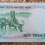 Vietnam del Sur 100 dong 1972 pk.31a reverso