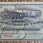 Argentina 5 pesos bolivianos 1869 Oxandaburu y Garbino (178x78mm) pkS1783r anverso