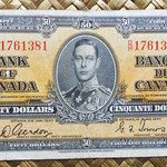 Canada 50 dollars 1937 (154x73mm) pk.63b anverso