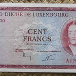Luxemburgo 100 francos 1963 (148x78mm) pk.52a anverso