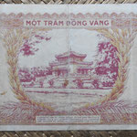 Indochina 100 piastras 1942-45 (174x76mm) pk.66? reverso