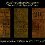 Nueva Caledonia serie francos 1943 Bonos -Tesoro de Noumea filigranas