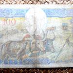Madagascar colonial 100 francos 1937 reverso