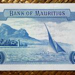Isla Mauricio 5 rupias 1967 pk.30c reverso