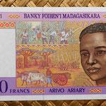 Madagascar 5000 francos - 1000 ariary 1995 (155x76mm) pk.78 anverso