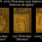 Grecia serie dracmas 1935 Reino Jorge I -BdF marcas de agua