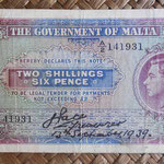 Malta 2 shillings 6 pence 1939 (135x75mm) pk.11 uniface