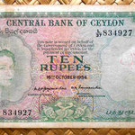 Ceilán 10 rupias 1954 anverso