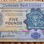 Escocia Clydesdale Bank 5 libras 1969 anverso