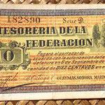 México 10 centavos 1914 Tesoreria de la Federación -Guaymas Sonora  (115x74mm) anverso