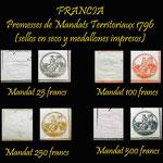 Francia serie Promesses Mandats Territoriaux 1796 sellos en seco y medallones impresos