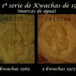 Zambia series Ngwee y Kwachas 1968-1973 marcas de agua