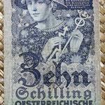 Austria 10 shillings 1927 (70x124mm) pk.94 anverso