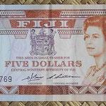 Islas Fiji 5 dollars 1983 (156x67mm) pk.83a anverso