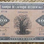 Africa Occidental Francesa 100 francos 1942 (138x78mm) pk.31a anverso