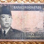 Indonesia 500 rupias 1960 (164x82mm) pk. 87c anverso