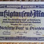 Alemania 50.000 marcos Sachsische Bank Dresden jul-1923 (140x80mm) pk.S954 anverso