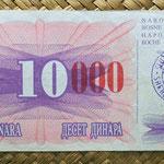 Bosnie Herzegovina 100 dinares 1992 resello 100.000 dinares Sarajevo anverso