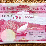 Yemen Democratic Republic 5 dinares 1965 (158x95mm) anverso