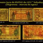 Indonesia Rupias serie Kabudayaan 1952 filigranas