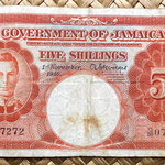 Jamaica 5 shillings 1940 anverso