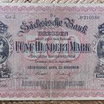 Alemania 500 marcos 1890 Sachsische Bank Dresden (180x116mm) pk.S953a anverso