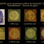 Egipto piastras y libras mediados s. XX -Tutankhamon marcas de agua