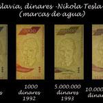 Yugoslavia series dinares siglo XX Nikola Tesla marcas de agua