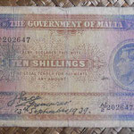 Malta 10 shillings 1939 (143x83mm) pk.13 uniface