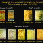 Indonesia series 1960 -Sukarno & Javanese/Balinese Dancers marcas de agua