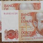 200 pesetas 1980 pareja correlativa serie de sustitucion 9A anversos