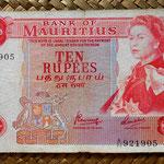 Isla Mauricio 10 rupias 1967 (144x84mm) pk.31c anverso