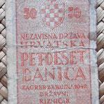 Croacia 50 banicas 1942 (80x44mm) reverso
