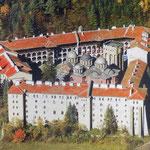 vista aérea de la fortificación del Monasterio de Rila