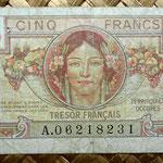 Francia 5 francos Territorios Ocupados -Tresor Francais 1947 (83x53mm) anverso