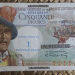 San Pedro y Miguelón 50 francos 1960  sobreimpreso 1NF (140x76mm) pk. 30b anverso