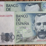 España 1.000 pesetas 1979 (138x75mm) pk.158 pareja serie 3S anversos