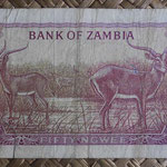 Zambia 50 ngwees 1968 (120x65mm) pk.4a reverso
