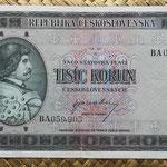 Checoslovaquia 1000 korun 1945 anverso