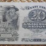Estonia 20 krooni 1932 (140x85mm) pk.64 anverso